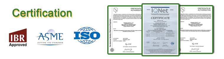 Oil fired steam boiler certificate
